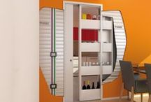 THE STORAGE POCKET FRAME / Protek® has realized and patented a new storage pocket frame for sliding doors to create more space in your homes where it didn't exist: Bigfoot® is the frame that host a store cupboard, that slides and completely disappears into the wall  Thanks to Bigfoot® you can even use the inside of the wall!