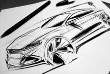 Design doodles / Development sketches of product and automotive design