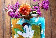 fleurs et peintures / peinture, dessin autour des fleurs