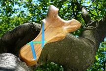 NOTATOY composite, metal and natural wood slingshots / catapults;  handcrafted slingshots / Design