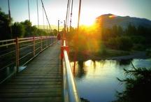 El puente de Cimbre de la Orilla / Un atardecer de un domingo en la Orilla, un rio, un puente, una tarde especial, paisajes que ofrece San Vicente de Tagua Tagua