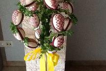 Osterkrone mit Kreuzstich - Eiern