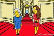 "Her Majesty and the Duchess ""Simpsonized"" / Her Majesty and the Duchess have been ""Simpsonized"", by Italian artist aleXsandro Palombo"
