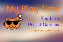 Playtime for me: Southern Pocket Gardens - Good Things in Small Spaces / Compact garden spaces and shady nooks for zone 7 gardens in the hot, humid southeastern US.  Love getting outside to haul bags of black soil and design happy spaces.  Great exercise, too.  Plus, neighbors stop to chat as they walk by and see me digging away.