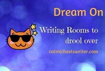 Dream On: Writing Rooms, Libraries, Bookstores / I love my writing room.  It's ringed with photographs, posters, needlework, books, plants, and a spaghetti bundle of computing wires hiding behind my desk.   However, I love to peek at where others author away, and I imagine myself writing in faraway places and in opulent spaces.