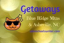 GETAWAYS-Asheville, North Carolina / The Chamber of Commerce promotes Asheville, North Carolina as a Blue Ridge Mountain city that mixes 'altitude with attitude.'  Linda, long-time time resident and supreme host at an Asheville bed and breakfast, calls the place 'edgy.'  I completely agree with them both!  All manner of art, music, food and literary wonders are tucked away in this magical place that's a magnet for creative types, outdoor enthusiasts, and--especially- all things writing and books!
