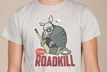 Texas Roadkill Awesome Sports Logos t-shirt / This Armadillo has seen better days but he took the time to pose for this awesome sports logo.