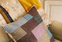 I make cushions too! / Everyone kept asking me about cushions to accompany my sumptuous quilts. I now make my cushions from all the delicious remnants. Each cushion is truly unique, and includes a colour pop mix of all the distinctly British fabrics stitched into my quilts, so will accompany any quilt you buy beautifully.