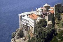 """Mount Athos / Mount Athos (Agio Oros in Greek) is a monastic community, dedicated to the worship of God. It is inhabited solely by men, who live by the rules of monasticism of the Orthodox Church. It is considered to belong to the Mother of God, and for this reason is known as «The Garden of the Virgin». It is also known as the """"Holy Mountain""""."""