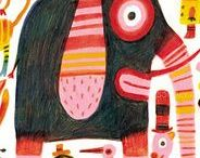 Art & Illustration / Messy and wonderful art full of color and playfulness. Some illustrations and paintings too - all very yummy to me. Inspiration and happiness.