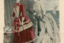 Historical Clothing - Late bustle period fashion plates / Fashion plates from 1983 - 1890