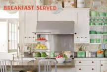 Kitchen redo / Minty green + white. Touches of red. Beadboard. Hoosier cabinet. Enamelware. Every knob/pull is different :)