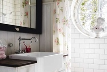 Bath redo / Total redo. Black/white/lt grey. + 1 accent color. Retro/vintage. Beadboard/subway tiles/hex tiles.