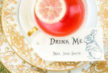 アリスのお茶会//tea party of Alice / rabbit, clock, cat, card, tea pot, tea cup & glass bottle