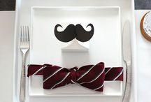 ひげ//mustache / mustache, hat, round glass & bow tie