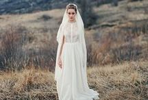 Modest wedding dresses / Exclusive wedding gowns by Cathy Telle. Silk wedding dresses. Wedding dresses with crystals.