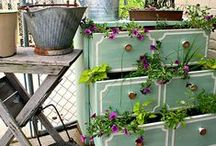 Upcycled Garden Furniture / Waste not want not! Clever design ideas for improving your garden design and re-using old furniture and household items.