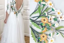 Wedding dress / Romantic wedding dress, embroidered with flowers.
