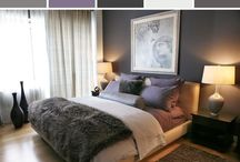 Master bedroom inspiration / Love the colors of purple, dark and light grey with silver.