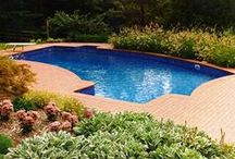 Vinyl Pools / Structural Steel or Polymer Walls, 7:1 Sand and Cement or Vermiculite pool bottom and Vinyl Interior.  Lifetime Warranty