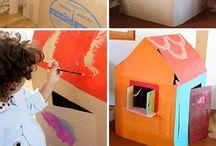 DIY: Zelte und Häuser für Kinder selbermachen / Zelte, Habitats, Häuser und Stoffüberzüge selbermachen, nähen, schneiden, Karton recycling, anmalen, Pappe, Holz, Stoff. Mit Kindern basteln, Papphaus, Diy, basteln, selbermachen, bauen, werken, nähen, kreativ umsetzen