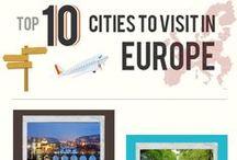 Travel infographics / Tablica z infografikami i cytatami o podróżach