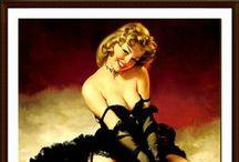 """GIL ELVGREN """"PIN UP"""" / Gil Elvgren (1914-1980), nació en un pueblecito de Minesota. A pesar de su inestimable trabajo en el mundo de la publicidad, Elvgren destacó sobre todo en la realización de calendarios de pin-ups. Nunca retrataba a la mujer como femme fatale. Él prefería más bien la típica """"chica de al lado"""", mujeres que bien podían ser vecinas de cualquiera sorprendidas en situaciones embarazosas. Cualquier cosa podía ser la excusa ideal para levantarles la falda y mostrar sus largas y hermosas piernas."""