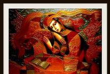 OLEG ZHIVETIN / Oleg Zhivetin nació el 8 de marzo de 1964 en la ciudad de Thashkent, Uzbekistán. Obtuvo el título de Bellas Artes en 1982. La pintura de iconos rusos es un elemento básico y profundo de puntos de referencia en su trabajo. Otros iconos típicos son los instrumentos musicales, libros, entes celestiales y las flores como símbolos de la belleza, delicadeza, y el desarrollo espiritual. Uno de los aspectos más bellos de su pintura es su habilidad de representación de rostros, manos y pies.