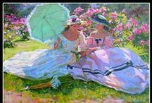 """ALEXANDER AVERIN / Nacido en 1952 en Noginsk, cerca de Moscú. Aprendió su técnica del pintor Dimitri Yorontnov en la Escuela de Bellas Artes """"Souvenir d I'An1905"""" en Moscú. Su estilo es puramente realista, con una fuerte influencia de los pintores rusos de finales del siglo 19, El tema principal de la pintura de Alexander Averin son las escenas de género con encanto. Bueno, es una combinación magistral de un retrato y un paisaje de estilo """"impresión"""" lo que distinguen las características de talento del artista."""