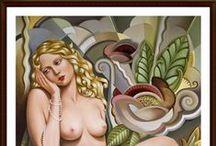 CATHERINE ABEL / Inspirada en los movimientos artísticos y las formas audaces angulares de principios del siglo 20, la artista australiana Catherine Abel crea sorprendentes pinturas al óleo figurativo.  La combinación de estilos clásicos con temas complejos de la sexualidad femenina moderna, sus obras son composiciones poderosamente seductora de fuerza y belleza.