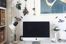 + desk space inspiration + / This is a beautiful collection of tips and ideas for modern, minimal and rustic desk spaces for studios and workspaces at home. They are inspired by Scandinavian, industrial and vintage designs using a mix of materials and products, including reclaimed wood, second hand and Ikea furniture, table lamps, prints and indoor plants.