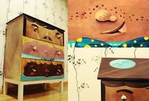 Whimsical hand painted decor / hand painted characters on furniture and decorations