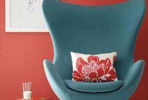 Turquoise Red livingroom