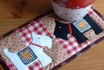 Konyhai textil / Edényfogó pot holder, zacskótartó plastic bag holder, pohár alátét mug rug,