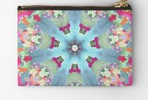Mandala Carry All Zipper Pouches / Carry all, zippered studio bags with mandala designs.