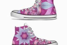 Mandala Canvas Shoes / Canvas high top shoes with my bright mandala designs.