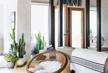 Tropical + Boho Living Space Inspiration / Living spaces to relax, feel productive, energized and fulfilled.
