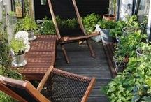 Tropical Balcony + Terrace / Tropical + Boho inspiration for the tiny outdoor home space.