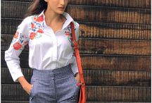 Shilpa Reddy in White Embroidered shirt and checks pants / Women's fashion