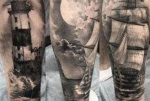 Татуировки на голени / на ногах / Татуировки выполнены мастерами студии Maruha на Парке Победы, СПб