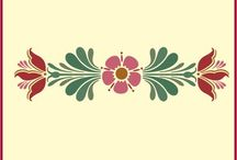 Rosemaling and Kurbits / Traditional Scandinavian folk art inspired design.