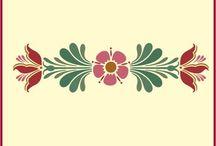 Rosemaling and Kurbits / Traditional Scandinavian folk art inspired design.