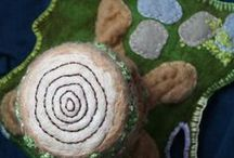 Tree Stumps / Wet felted wool tree stump play scapes.