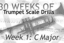 30 Weeks of Trumpet Scale Drills / Free major and minor music scales drills in every key. Designed for trumpet, perfect for many instruments including clarinet, viola, piano, keyboard, guitar, harp, organ, and accordion.