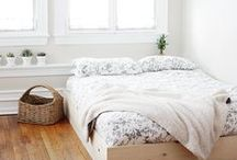 bedroom | interior design, simple sleep sanctuary / Photos to inspire the decor and design of my bedroom sanctuary. I love a calm, minimal space, filled with white and light, very sparse decorations, touches of nature, simple, sustainable living.