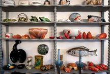 Majolica Lobsters / Dishes, casseroles, soup tureens, bowls, salt cellars - lobsters and crabs.  A private collection of majolica inspired by the sea. Frilli family private collection.