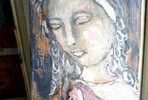 BARREL STAVES ~ Painted # Mixed Media Hangers / beads, paint, wood, fibers, ribbon