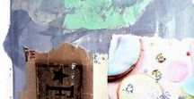 INSIDE my art journal...TRAVELING with me to Southern California mountains... / Own painted papers, words, acrylic paints
