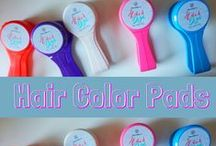 Hair Color Pads / We have five different colors available - white, red, blue, pink & purple!