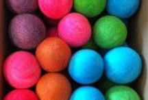 """Balls, Balls, Balls! / Our Wool Dryer Balls are handmade with 100% Wool, all """"grown"""" & sourced in Canada.  They'll reduce your drying time, static, wrinkles & pet/human hairs in finished laundry. They also naturally soften fabrics!!"""